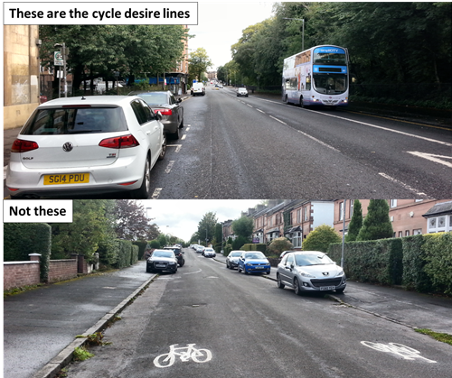 Photos showing cycle desire lines