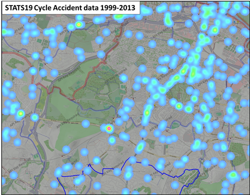 Image of map of Glasgow southside showing STATS19 Cycle Accident Data